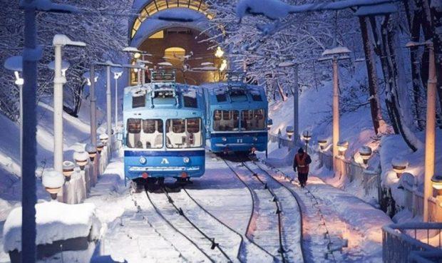 Фуникулер в Киеве зимой