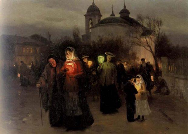 Николай Пимоненко «Выход из церкви в Страстной четверг»