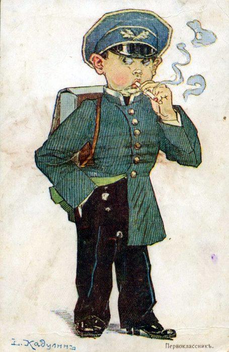 Первоклассник. Карикатура В. Кадулина