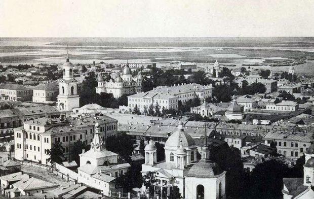 Панорама старого Подола. Церковь Николы Доброго с колокольней