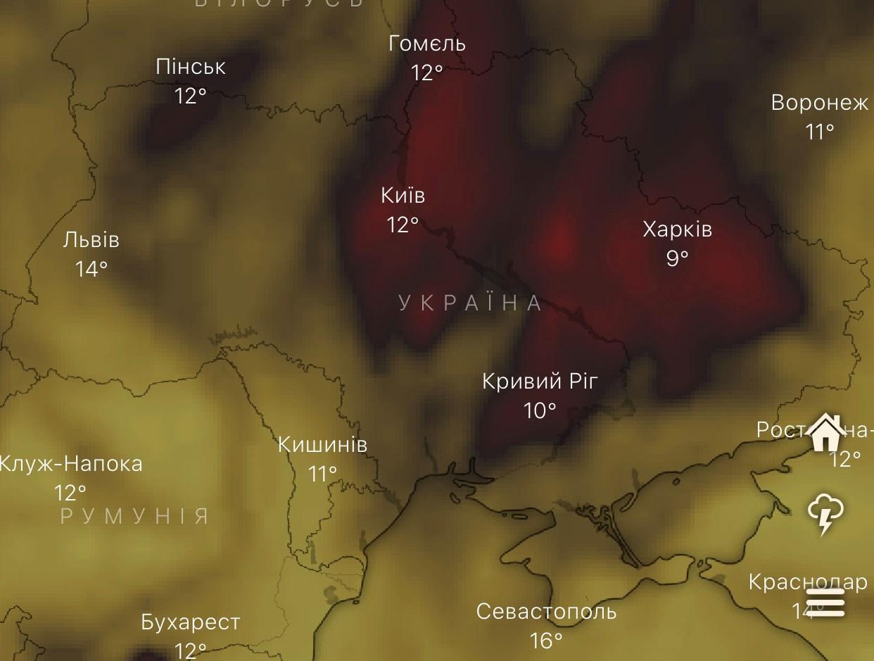 Карта загрязнения воздуха, Киев