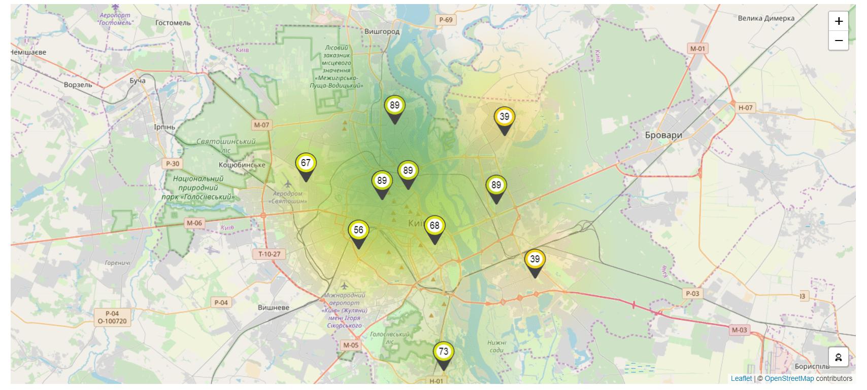 Карта качества воздуха, Киев
